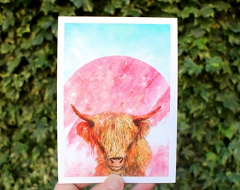 Wooly Coo Space Cowboy | Greeting card