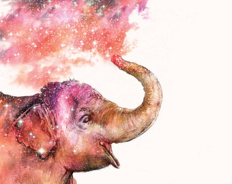 Playing with Stardust | A5 print | Alykat Creative Stardust series | Elephant