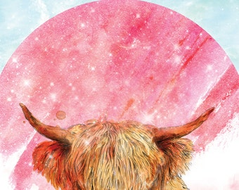 Wooly Coo Space Cowboy | A5 print | Alykat Creative Stardust series | Scottish Cow