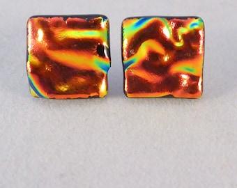 Orange Dichroic Fused Glass Stud Earrings, Fused Glass, Fused Glass Earrings, Glass Earrings, Dichroic Earrings, Studs, Posts, Orange