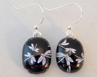 Black Silver Dichroic Fused Glass Dangle Earrings, Dragonflies, Fused Glass, Fused Glass Earrings, Dichroic Earrings, Black, Dragonfly