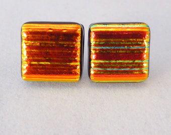 Orange Gold Dichroic Fused Glass Stud Earrings, Fused Glass, Fused Glass Earrings, Glass Earrings, Dichroic Earrings, Studs, Posts, Orange