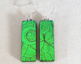 unique handmade gift Forest and sky green glass earrings natural colors beachwear earrings fun bright colors fused glass earrings