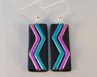 Pink Teal and Black Dichroic Fused Glass Dangle Earrings, Fused Glass Earrings, Fused Glass, Dichroic, Dangle, Pink, Teal, Black