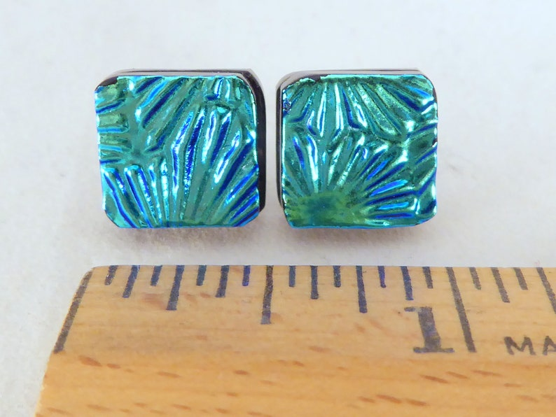 Hypoallergenic Posts Turquoise Green Dichroic Fused Glass Stud Earrings