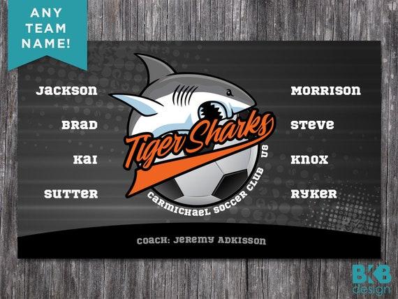 Bannière personnalisée d'équipe de football de vinyle, bannières d'équipe de sports, bannières d'équipe, requins de tigre
