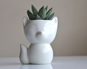 Ceramic Fox succulent planter-Mini Fox pot-Pottery Fox Planter-Fox cactus planter-white Fox pot-Fox decor