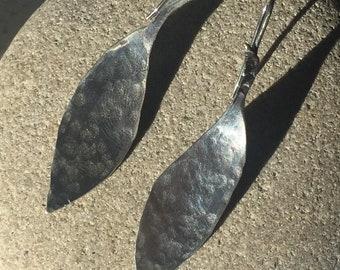 Sterling Silver Earrings, Hand Made, Jewellery, Jewelry, Girl Gift, Women Gift, Silver Hooks, Leaf Design, Statement Jewelry, Teen, Beaten