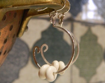 Boho, hoop,Sterling Silver Earrings, Silver Earrings, Hand Made, Jewellery, Jewelry, Girl Gift, Gift for Women, Silver Hoops, beads