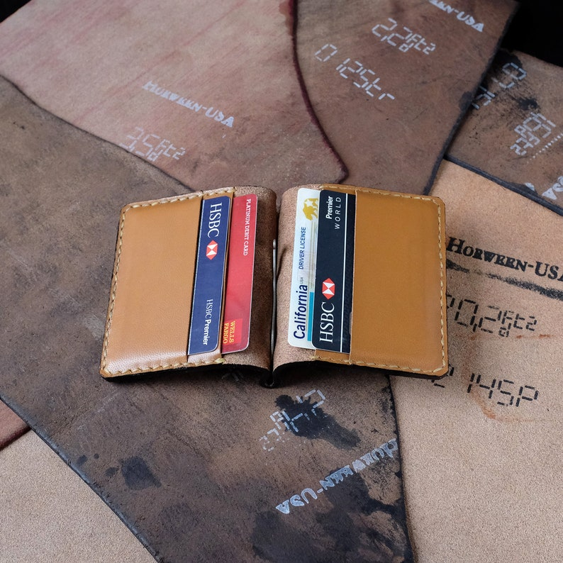 Brown Horween Leather Wallet, Card Case, Money Clip, Card Holder, Handmade  in USA, Everyday Carry, Mens Gift, Leather Accessories
