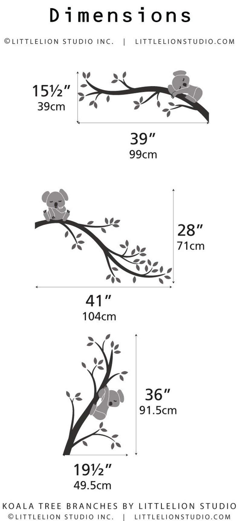 Koala Tree Branches by LittleLion Studio Pink Gray Wall Decal Baby Wall decal Room Nursery Decor