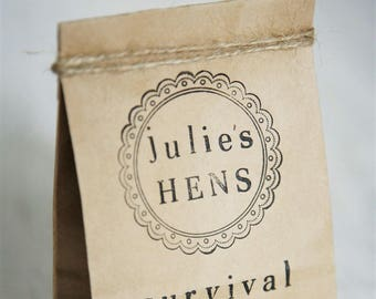 10 Personalised Party Bags & Ribbon, Hens Survival Kit Party Bags, Eco Party Bags, Hens Party Ideas, Hens Kits, Birthday, Party Bags, Kraft