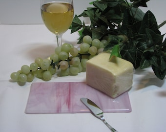 Pink / White 4x8 Fused Glass Cheese Tray