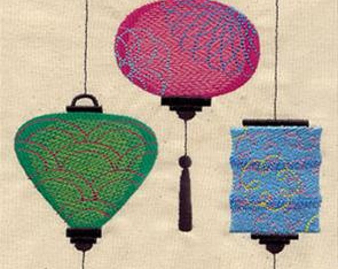 Chinese Lanterns Drawstring Embroidered Dice Bag or Pouch