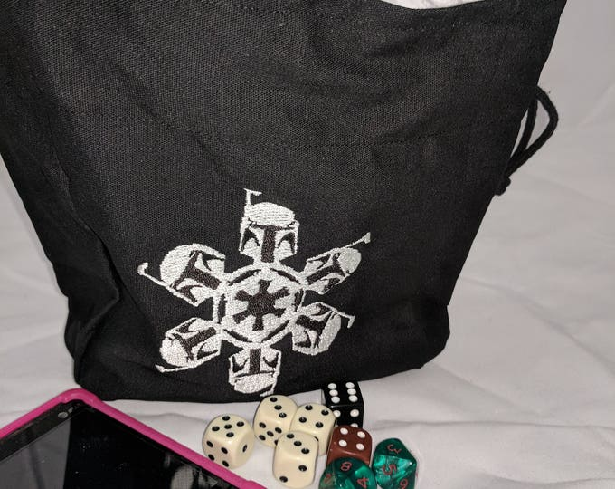 Drawstring Boba Fett Embroidered Dice Bag or Pouch
