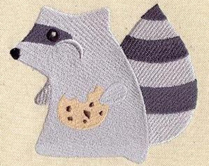 Cute Raccoon  Drawstring Embroidered Dice Bag or Pouch