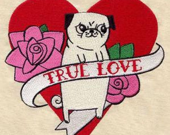 Pug True Love Dog Puppy Tattoo Heart Rose Dice Bag or Pouch