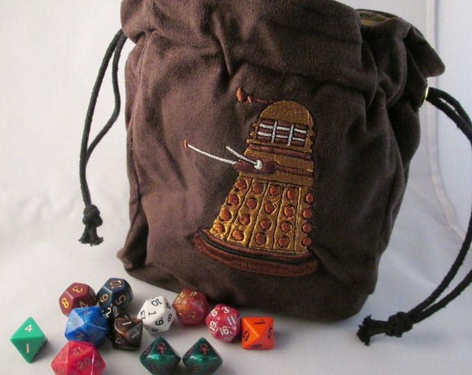 Dr. Who Dalek  Drawstring Embroidered Dice Bag or Pouch