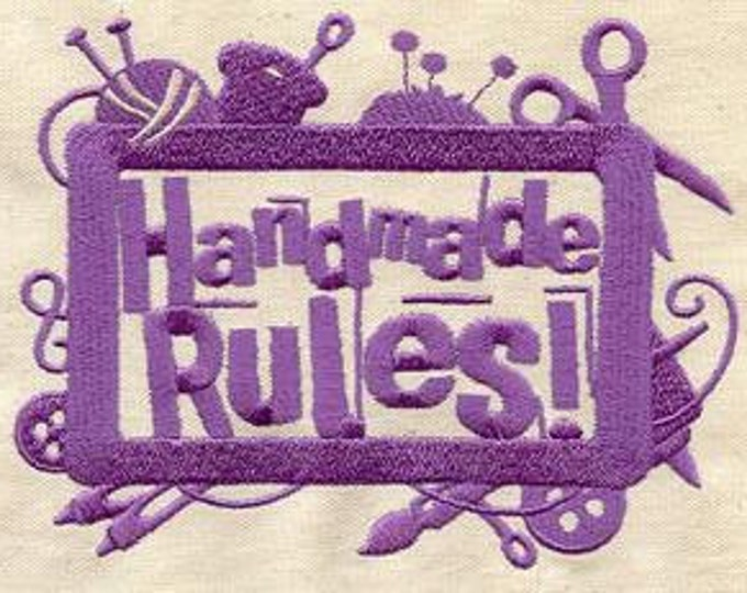 Handmade Rules Sampler Craft Sewing Dice Bag or Pouch