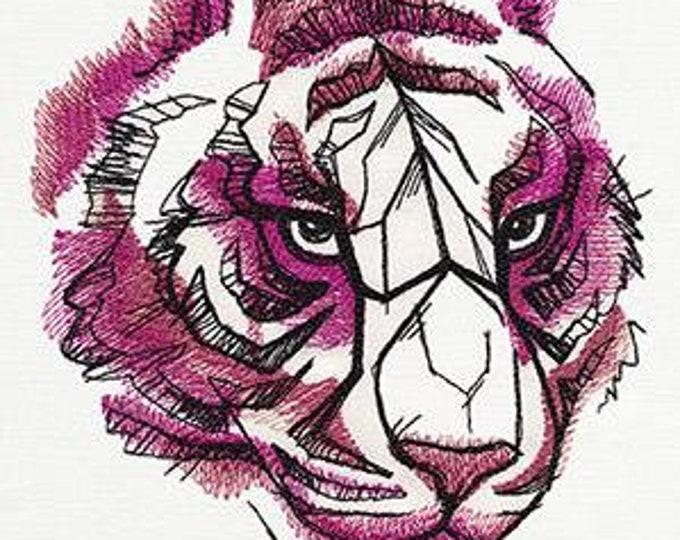 Tiger pink floral elegant Drawstring Embroidered Dice Bag or Pouch