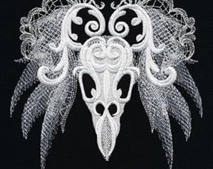 Baroque Ornate Ghost Bird Skull Embroidered Dice Bag or Pouch