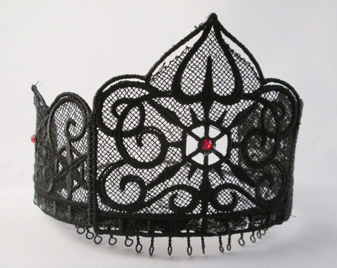 Lace Gothic Crown black lace with red gems hair band tiara