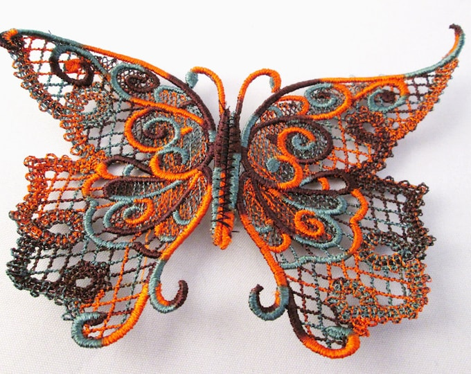 Variegated Multicolored fall colored lace butterfly pin