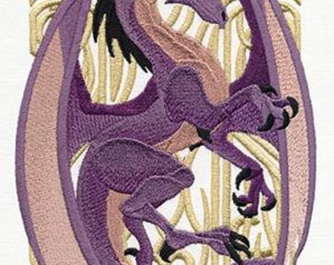 Art Nouveau Purple Dragon Embroidered Dice Bag or Pouch