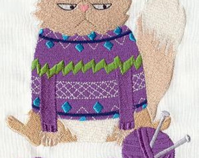 Sweater Angry Cat  Knitting Crochet Yarn Cat Dice Bag or Pouch