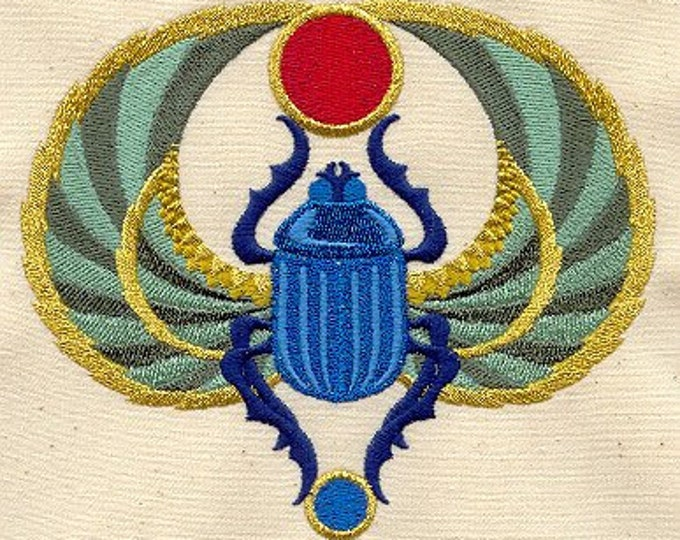 Egyptian Scarab Sapphire Drawstring Embroidered Dice Bag or Pouch