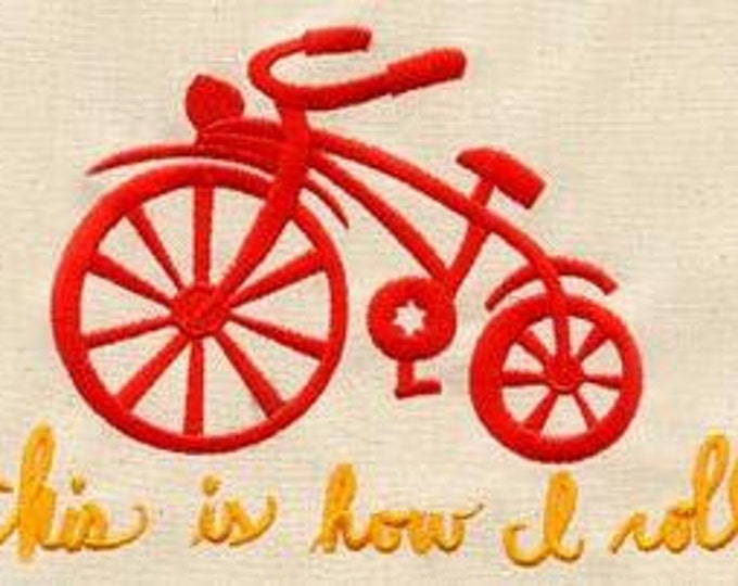 This is How I Roll Bicycle Tricycle Embroidered Dice Bag or Pouch