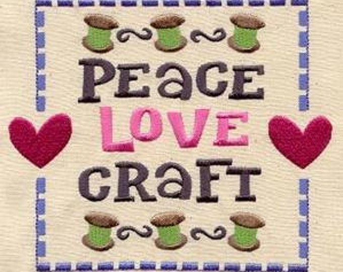 Peace Love Craft Quilt Sampler Spools Needles Sewing Dice Bag or Pouch