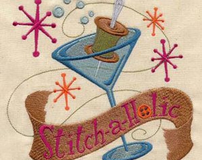 Stitch-a-Holic Cocktail Martini Sewing Spool Retro Dice Bag or Pouch