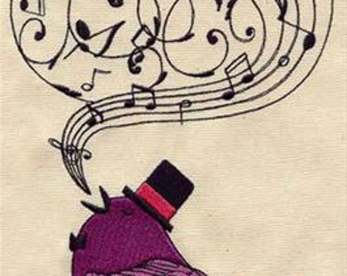 Songbird Music Notes Top Hat Bird Embroidered Dice Bag or Pouch