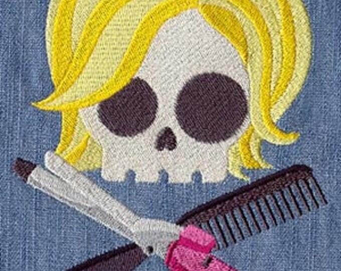 Skully Skull Hairdresser Salon Hair Dice Bag Dicebag or Pouch