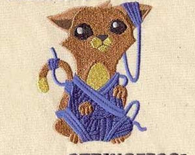 I can haz stringez String Yarn Knitting Crochet Cat  Dice Bag or Pouch