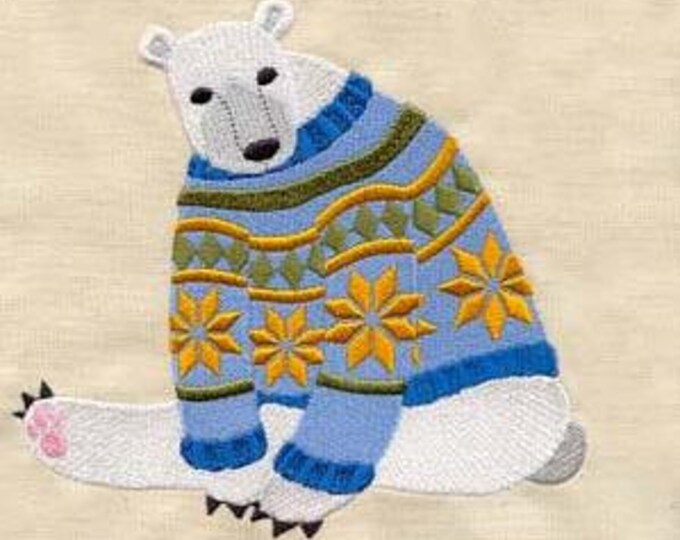Ugly Sweater Winter Polar Bear Teddy Bear Embroidered Dice Bag or Pouch