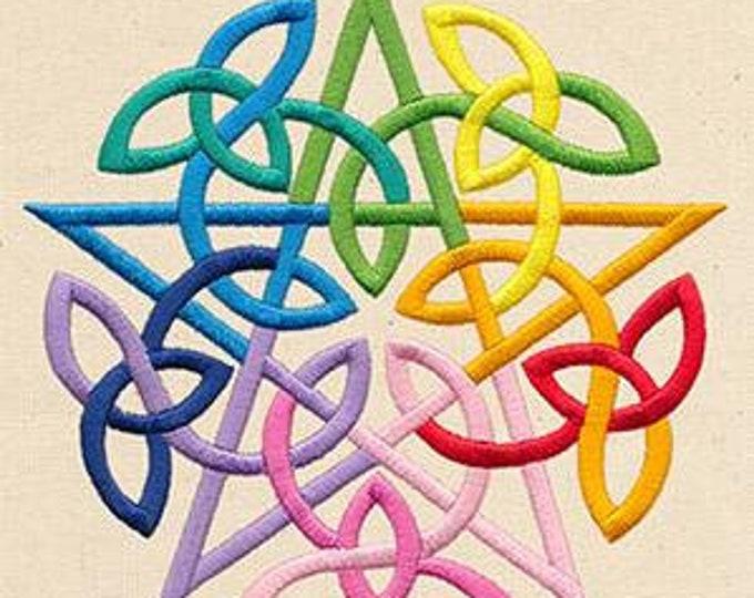 Irish Celtic Pentagram Rainbow Pagan Dice Bag or Pouch