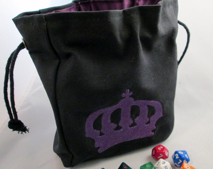 Drawstring Black Canvas Lasombra Crown  Embroidered Dice Bag or Pouch