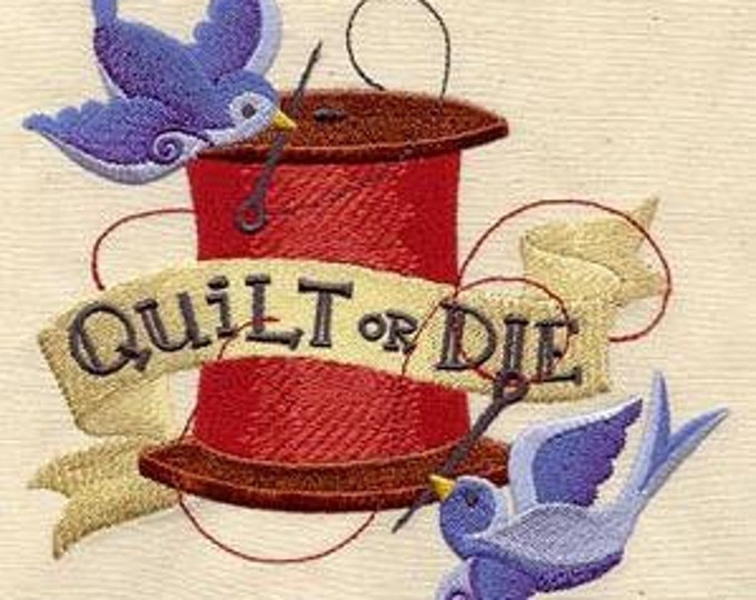 Quilt or Die Tattoo Spool Birds Quilting  Sewing Dice Bag or Pouch