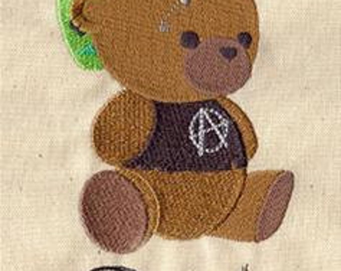 Punk in Training Bear Teddy Bear Embroidered Dice Bag or Pouch