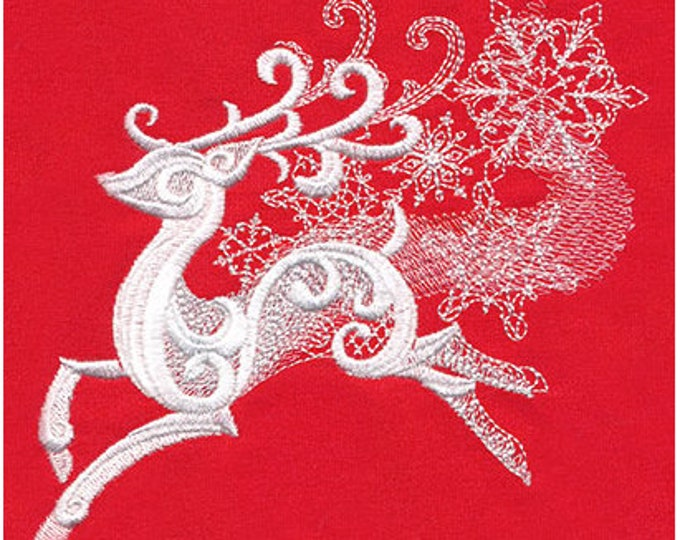 Ornate Christmas Reindeer Snow Snowflake