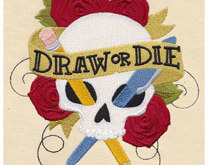 Skull Draw or Die Tattoo Pencil Pen Dice Bag Dicebag or Pouch