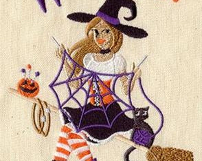 Witch Craft Pinup Witch Sewing Dice Bag or Pouch