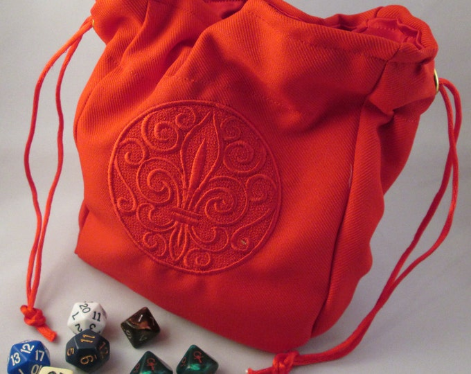 Fleur di lis Drawstring Embroidered Dice Bag or Pouch