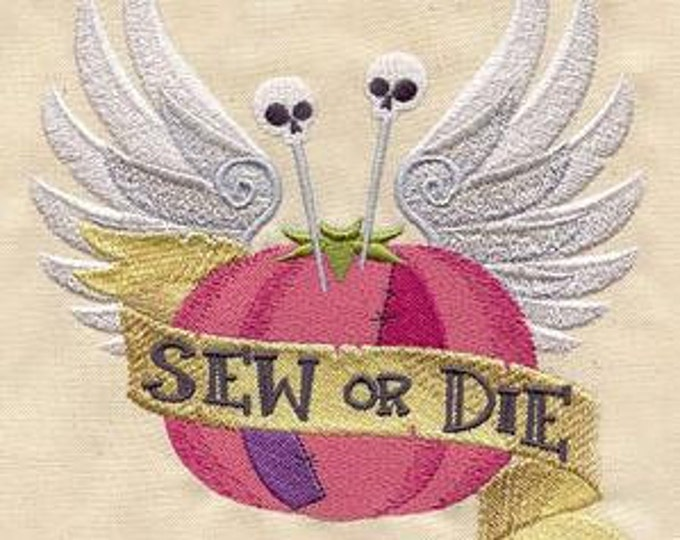 Sew  or Die Sewing Angel Wings Pin cushion tomatoe Tattoo Retro Dice Bag or Pouch
