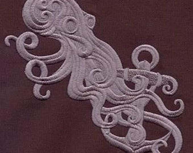 Baroque Ornate Octopus Embroidered Dice Bag or Pouch