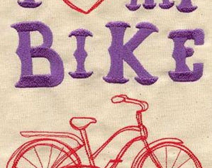 I Love My Bike Bicycle Embroidered Dice Bag or Pouch