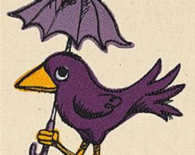 Sad Bird with Umbrella Rain Embroidered Dice Bag or Pouch