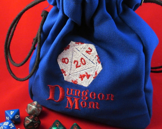 Drawstring Dungeon Mom Dungeons and Dragons Embroidered Dice Bag or Pouch